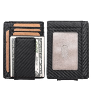 119# Genuine Leather Carbon Fiber Texture RFID Protected Purse Wallet with Photo Slot