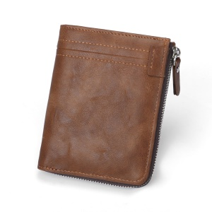 Durable PU Leather Card Slots Bi-fold Wallet Coin Purse for Men - Brown