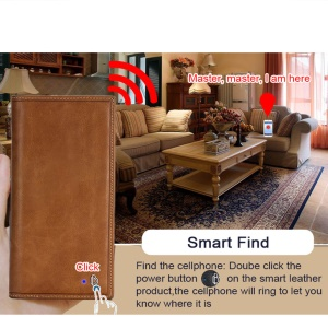 BAYDOW BD-012C Bluetooth Smart Wallet [2-Way Anti-lost / Smart Find / Remote Self-timer] - Brown