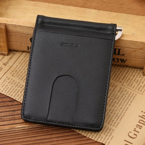 Business Genuine Leather Men's Wallet Multi-card ID Credit Card Holder Dollar Clip - Black
