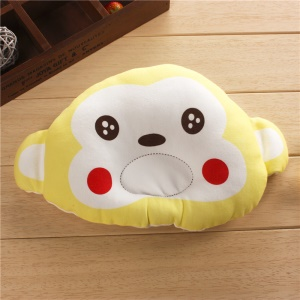 Cute Cartoon Monkey Shape Soft Baby Head-shaping Flat Head Prevention Pillow - Yellow