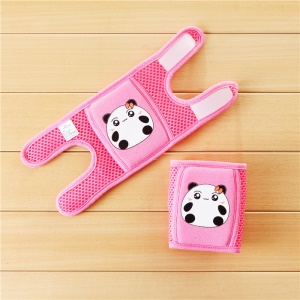 Cute Animal Pattern Mesh Knee Cap Baby Infant Toddler Knee Pad Brace Support for Skating Scooter Cycling - Panda/Red