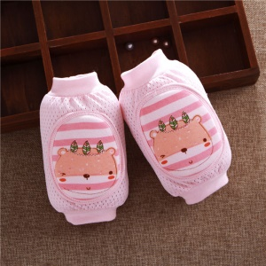 One Pair Unisex Baby Toddlers Ice Silk Breathable Mesh Crawling Knee Pad Knee Protector - Bear / Pink