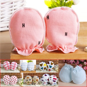 Baby Cotton Anti Scratching Gloves Newborn Protection Face Scratch Resistant Mittens - Random