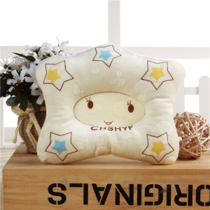 Cartoon Star Pattern Cotton Prevent Flat Head Baby Pillow Infant Toddler Bedding Soft Pillow - Yellow