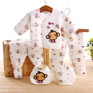 5-in-1 Newborn 0-3M Boys Girls Baby Cotton Clothes Tops Hat Pants Sleepwear Suit Outfit Set - Pink