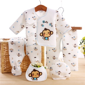 5-in-1 Toddler Newborn 0-3M Boys Girls Baby Cotton Clothes Tops Hat Pants Sleepwear Suit Outfit Set - Blue