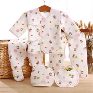 5-in-1 Newborn 0-3M Baby Boys Girls Cotton Clothes Tops Hat Pants Sleepwear Suit Outfit Set - Balloon / Pink