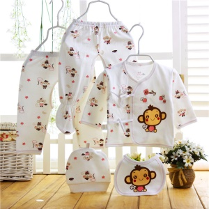5-in-1 Newborn 0-12M Boys Girls Baby Cotton Clothes Tops Hat Pants Sleepwear Suit Outfit Set - Monkey / Pink