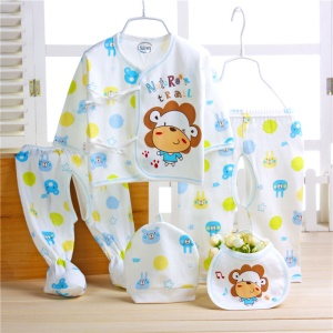 5-in-1 Newborn 0-12M Boys Girls Baby Cotton Clothes Hat Tops Pants Sleepwear Suit Outfit Set - Lion / Blue