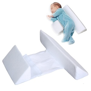 Baby Infant Sleep Positioner Prevent Flat Head Shape Anti-roll Pillow - White