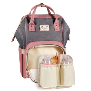 Large Capacity Maternity Bag Nappy Diaper Bag Multi-functional Mummy Backpack - Pink / Grey