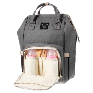 DOKOCLUB Oxford Cloth Mommy Bag Backpack with 2 Feeding Bottle Pockets - Dark Grey