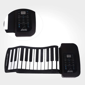 Rechargeable 61 Keys Roll Up Silicone Flexible MIDI Electronic Piano - Black / EU Plug