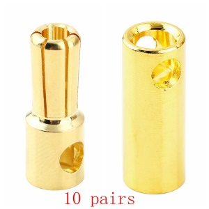 10 Pairs 5.5mm Gold Color Plated Bullet Banana Plug Connector (10 Male + 10 Female) for RC Battery