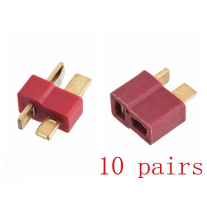 10 Pairs Male and Female T Plug Connectors for Deans RC Lipo Battery Helicopter