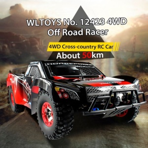WLTOYS 12423 1:12 2.4GHz High Speed 4WD Remote Control Off-Road RC Car - Black / Red / EU Plug