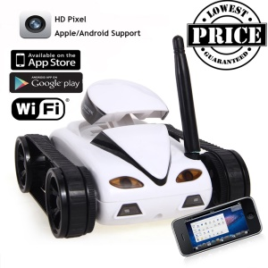 777-270 Wifi Mini Rechargeable RC Tank with 0.3MP Camera, iOS Android Phone Controller - White