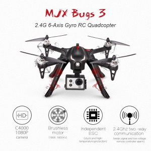 MJX B3 Bugs 3 Brushless 2.4G 6-Axis Gyro RC Quadcopter with C4000 1080P HD Action Camera - EU Plug