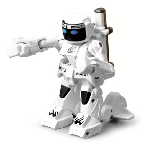 777-615 Intelligent RC Toy Remote Control Humanoid 2.4G Fighting Robot with Light and Sound - White
