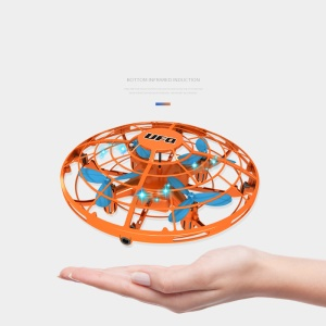 77-32 Hand Induction Flying UFO Toy Suspension Flying Saucer with LED Light - Orange