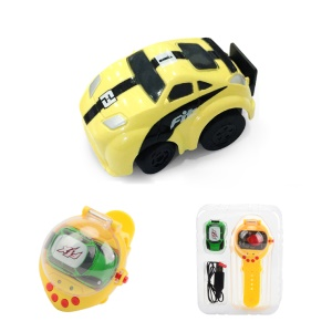 2.4G USB Charging Mini Watch Remote Control Vehicles RC Car Toy - Yellow