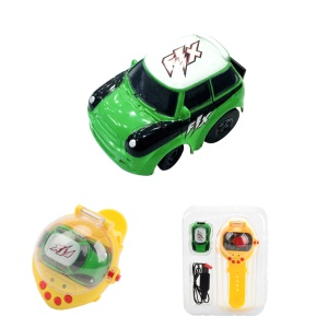 2.4G USB Charging Mini Watch Remote Control Vehicles RC Car Toy - Green