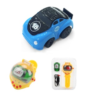 2.4G USB Charging Mini Watch Remote Control Vehicles RC Car Toy - Blue