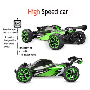 Electric Remote Control Truck 2.4G 1:18 4WD High Speed Off-road Monster Hobby Truggy Toys - Green