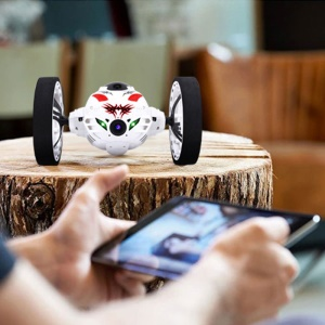 2.4GHz Jumping Stunter RC Bounce Car with Flexible Wheels and LED Light - White