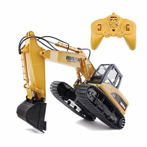 HUI NA 1550 2.4GHz 15CH Engineering Electric Excavator 1/12 Metal RC Car Toy Construction Truck - Yellow