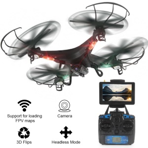 LIDIRC L20 2.4G 4CH Headless Mode 3D Flip RC Quadcopter with WiFi FPV 2MP Camera and LED Light - Black