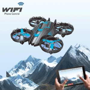 515W 2.4G 4-Axis 360 Degree Rollover RC Drone with WiFi 2MP Camera and LED Light - Black + Blue