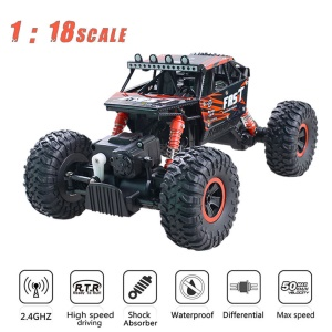 YL-06 2.4G 1:18 Scale Remote Control RC Car Off Road Rock Crawler Bigfoot Car - Red