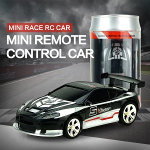 1/58 Scale Mini Remote Control Toy Car with Cola Can Style Package - Black+White