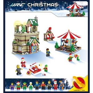 JJRC 1003 1595Pcs Christmas Carousel Building Block Toy Set Educational Brick Toy