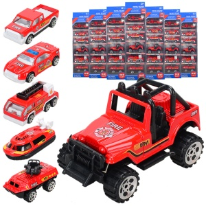 6Pcs/Set 1:64 Metal Alloy Die-cast Cars Emergency Fire Rescue Series Mini Car Toys for Children