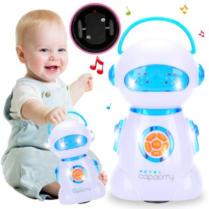 Cute 360° Body Spinning Flashing Lights Music Robot Toy for Kids - Blue
