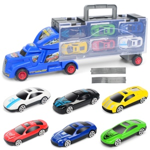 Kid's Container Truck Transport Car Carrier Truck with 6 Mini Stylish Metal Racing Cars and Two Slide Tracks - Blue