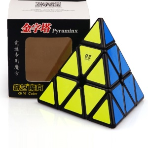 QiMing A Pyramid Plastic Puzzle Cube Toy for Kids and Adults - Black
