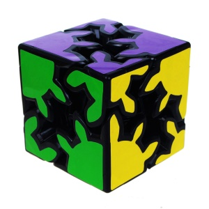 2X2X2 Paper Coated Gearwheel Irregular Magic Cube Pocket Cube - Black Background