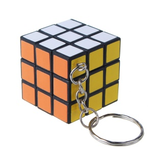 Mini 3x3x3 Rubik Magic Cube Keychain Pendant - Black Background