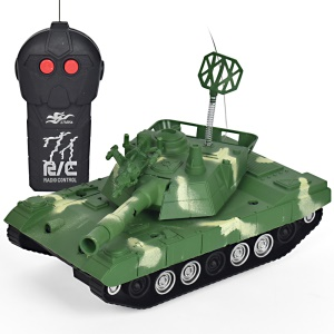 360-degree Rotary Mini RC Remote Control Tank Hobby with LED Light - Green