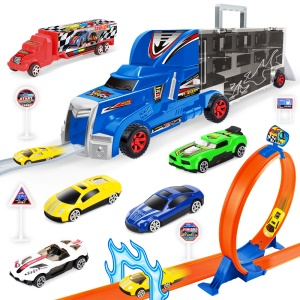19-in-1 DIY Container Truck Rail Car Racing Track Building Blocks Educational Toy for Kids - Blue