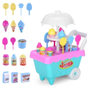 19Pcs/Set Children's Simulation Candy Ice Cream Cart Set Educational Toys(without Light and Music) - Pink