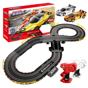 A36-11 1:43 Scale Hand Shake Assembly Track Racing Car Parent-child Toy Set with LED Light