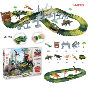144PCS 528 Dinosaur Track Racing Car Set Assembly Blocks Sound Light Effect Kids Toy