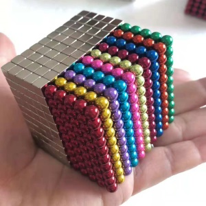 1000PCS 5mm Sculpture Magnets Relief Toy Building Block Toy [500PCS Silver Cubes + 500PCS Colorful Balls]