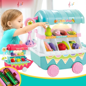 96Pcs/Set Simulation Vegetable Shop Car Play Set with Music Educational Toys for Kids - Blue