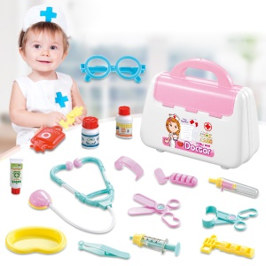 839B Children's Role Playing Toy Simulation Medical Toys Set with Portable Suitcase - Pink